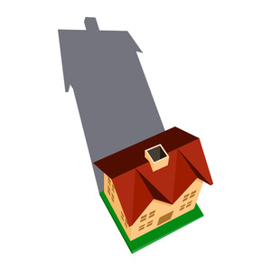 Vector Card With House And Shadow.