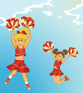 Vector Cartoon Background With Cheerleaders