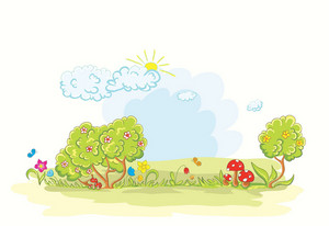 Vector Cartoon Background With Flowers