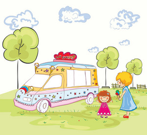 Vector Cartoon Background With Ice Cream Van