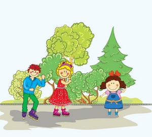 Vector Cartoon Background With Kids