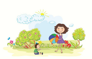 Vector Cartoon Background With Mom And Son