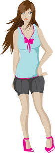 Vector Cartoon Girl