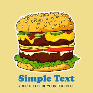Vector Cartoon Ham Burger