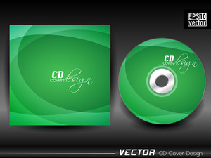 Vector Cd Cover In  Green Color With Wave Effect
