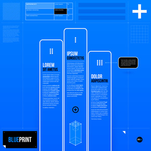 Vector Chart In Blueprint Style With Three Opitons. Eps10
