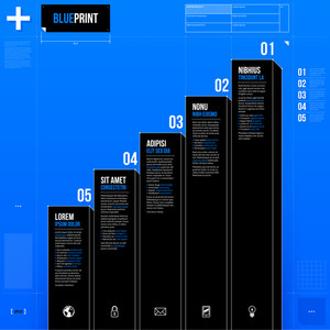 Vector Chart Template With Five Stages In Blueprint Style. Eps10