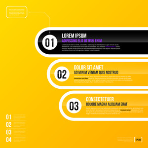 Vector Chart Template With Three Options On Bright Yellow Background. Eps10