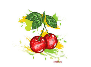 Vector Cherries With Colorful Splashes