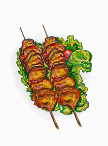 Vector Chicken Shish Kebab Illustration