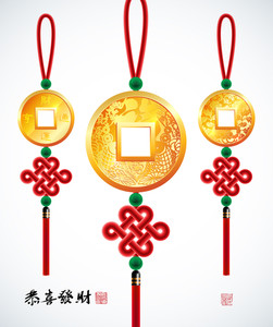 Vector Chinese Copper Coins With Ru Yi Stitch. Translation: Prosperity