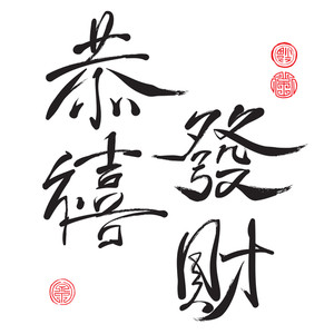 Vector Chinese Greeting Calligraphy. Translation: Prosperity