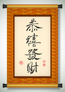 Vector Chinese New Year Calligraphy On Scroll Banner. Translation: Prosperity