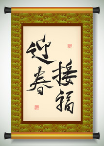 Vector Chinese New Year Calligraphy On Scroll Banner. Translation: The Spring Happiness