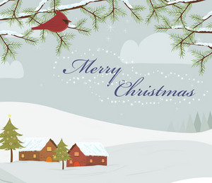 Vector Christmas Background With Bird