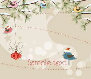 Vector Christmas Background With Birds