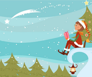 Vector Christmas Background With Elf