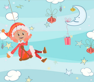 Vector Christmas Background With Girl