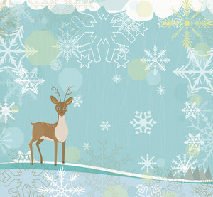 Vector Christmas Background With Reindeer