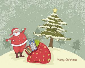 サンタとベクトルクリスマスの背景