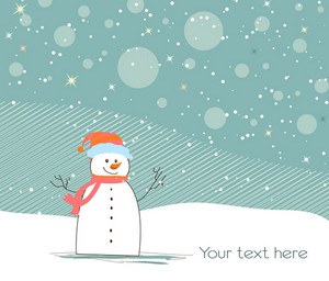Vector Christmas Background With Snowman