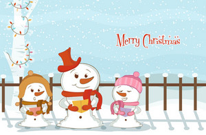 Vector Christmas Background With Snowmen