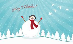Vector Christmas Card With Snowman