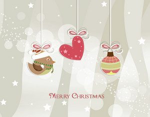 Vector Christmas Greeting Card With Bird