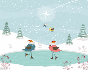 Vector Christmas Greeting Card With Birds