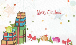 Vector Christmas Greeting Card With Presents