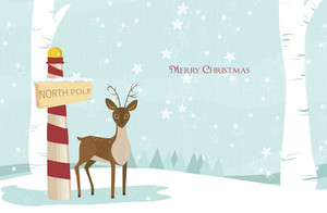 Vector Christmas Greeting Card With Reindeer