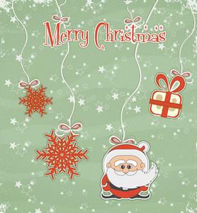 Vector Christmas Greeting Card With Santa
