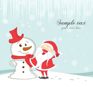Vector Christmas Greeting Card With Snowman And Santa