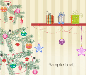 Vector Christmas Greeting Card With Tree