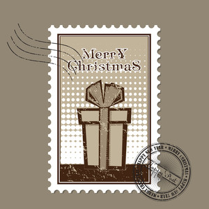 Vector Christmas Postage Set In Grunge-style.