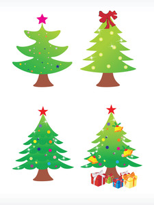 Vector Christmas Tree Icon Set