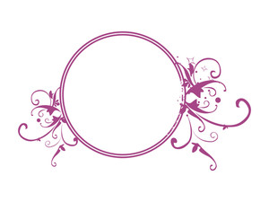 Vector Circle Frame With Shiny Stars In Purple