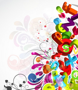 Vector Colorful Abstract Background With 3d Letters