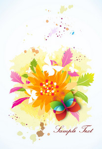 Vector Colorful Abstract Background With Butterfly