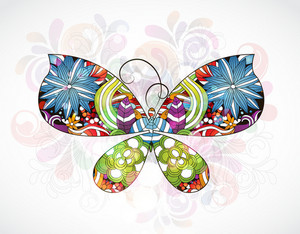 Vector Colorful Abstract Illustration With Butterfly Made Of Floral