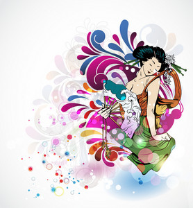 Vector Colorful Background With Geisha