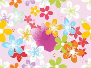 Vector Colorful Blossoms Wallpaper