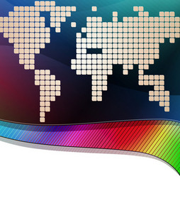Vector Colorful Business Background With World Map