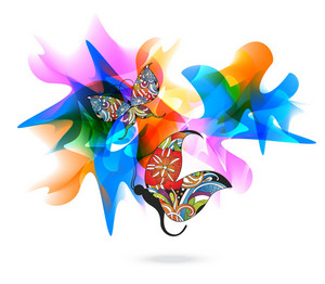 Vector Colorful Butterflies With Abstract Background