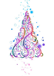 Vector Colorful Christmas Tree With Circles