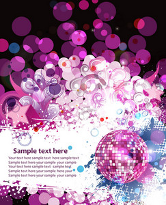 Vector Colorful Concert Poster With Discoball