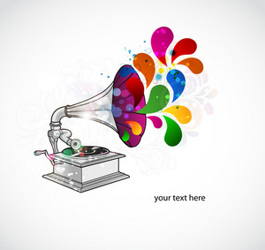 Vector Colorful Concert Poster With Gramophone