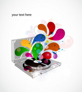 Vector Colorful Concert Poster With Turntable