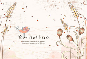 Vector Colorful Floral Background With Bird