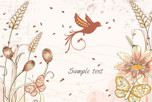 Vector Colorful Floral Background With Butterflies